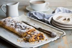 Louise Robinson serves up a stunning apple strudel recipe, comprised of layers of crisp, golden filo pastry, giving apple and crisp pecans. Cinnamon adds to the wintry glow of this dish, best served in the colder months when apples are at their best. Fruit Recipes, Cooking Recipes, Great British Menu, Strudel Recipes, Pear Dessert, Filo Pastry, Italian Chef, Phyllo Dough, Pecan Nuts