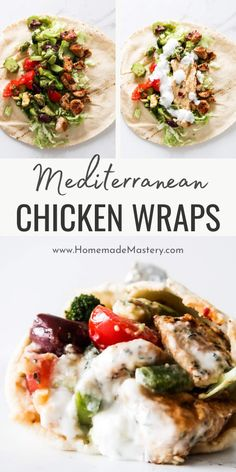 Amazing Mediterranean Chicken Wraps With garlicky yogurt sauce and hummus! These healthy wraps are a delicious healthy dinner recipe that everyone at your dinner table will love! This Mediterranean recipe is easy, uses simple ingredients and ready in about 30 minutes when you multi-task! Clean Eating Recipes For Weight Loss, Clean Eating Recipes For Dinner, Clean Eating Meal Plan, Dinner Bowls, Dinner Table, Dinner Meal, Easy Mediterranean Recipes, Mediterranean Chicken, Easy Family Meals