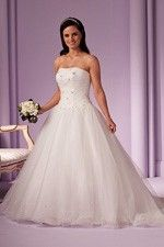 This wonderful Wedding Dresses Intriguing White Ball Gown Features Refine Strapless Neckline and Fancy Lace-up Bodice Wedding Dress This beatiful cheap wedding dresses use the Organza material, the front Strapless neckline compose this elegant and charming dress. Ball Gown outline match with your unique and sexy appeal. Dressaler.com offer you the best ball-gown wedding dresses There must be one for you. - $158.39