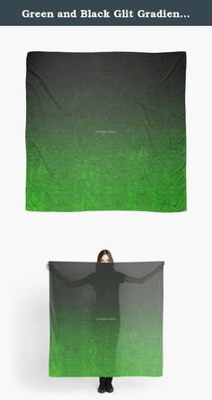 """Green and Black Glit Gradient Scarf, Shawl, Wrap. This is a beautiful 55"""" square, microfiber polyester scarf that features my original art/design, and has a slightly transparent effect. The print is fully visible on the front and the back. *It is not actually coated in glitter, the design simply resembles it. ---------------------------------------------------------------------------------------------------------------------------------------- Hand wash only. Do not dry clean or tumble…"""