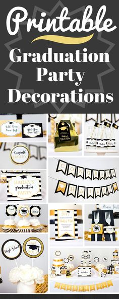 Black and Gold Graduation Party Decoration - INSTANT DOWNLOAD with Matching Invitation. Huge Full Printable Collection. #ad #graduationpartyideas #graduationdecorations #printablepartydecorations #graduationparty #highschoolgraduation