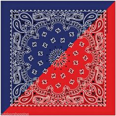 Navy Blue/Red Split Paisley Bandana - Made In The USA, Bikers, Motorcycle