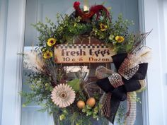 Primitive ~Rooster~Sign~ Double Bow~Feathers~Eggs~ Door  Wreath~ New~