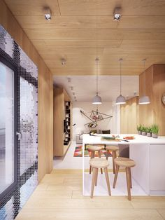 Step inside this modern home for a taste of welcoming comfort with just the right amount of bright, playful color. Dining Pendant, Gadgets, Modern Staircase, Cool House Designs, Apartment Interior, Beautiful Kitchens, Home Decor Inspiration, Design Inspiration, Interior Architecture