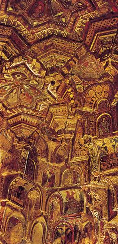 Ceiling of the Cappella Palatina, Palermo, Sicily.  The chapel was built by the Norman kings of Sicily but decorated by Fātimid artists during the Fātimid Caliphate which spanned from Sudan at its most southern point to the very bottom of Italy at its most northern point.