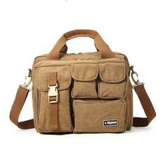 EKPHERO Men Large Capacity Canvas Crossbody Computer Bag Outdoor Casual Travel Tactical Bag