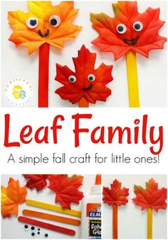 Simple, adorable fall leaf craft: Your kids will love using all the leaves they collect for this project!