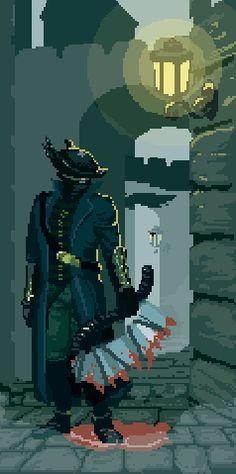 Bloodborne pixel -Will Piskel Art, Arte Dark Souls, Game Design, Arte 8 Bits, Bloodborne Art, Old Blood, Pixel Animation, 8bit Art, Pixel Games