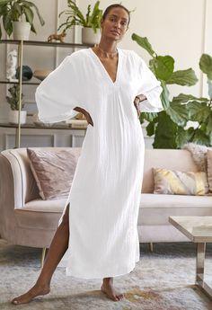 Gauze Dress, Caftan Dress, Kimono, White Kaftan, Long Kaftan, Korean Girl Fashion, White Casual, Classic Wardrobe, Minimal Fashion