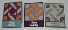 trio of handmade quilt cards : MMTPT390 oh no, more quilts by muscrat ... die cut block with pretty patterned papers ...