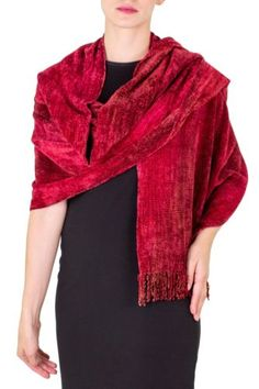 Rayon-Chenille-Shawl-039-Ruby-Roses-039-Finely-Hand-Loomed-Women-039-s-Wrap-NOVICA