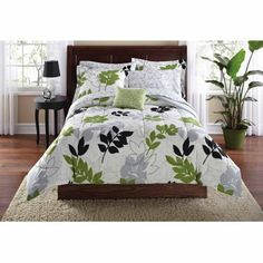 Mainstays Botanical Leaf Bed in a Bag Coordinated Bedding Set