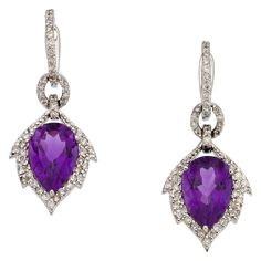 Amethyst, Diamond, White Gold Earrings, Piranesi The earrings feature pear-shaped amethyst weighing a total of 6.06 carats, enhanced by full-cut diamonds weighing a total of 0.81 carat, set in 18k white gold. Marked Piranesi