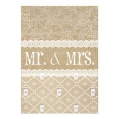 Country Burlap, Lace and Mason Jar Wedding Invitat Personalized Invite