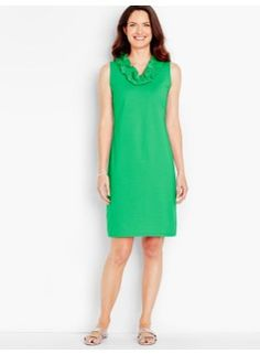 Ruffled V-Neck Shift Dress