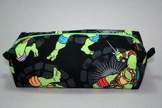 Boxy Makeup Bag -Teenage Mutant Ninja Turtles Character Black Background Zipper - Pencil Pouch- Donatello, Raphael, Michelangelo, & Leonardo for $10 +s&h by JustPeachyHandmade on Etsy