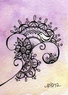 Pin by julie harris on doodles рисунок узора мандала, дизайн узора мандала, Doodles Zentangles, Zentangle Patterns, Doodle Drawings, Doodle Art, Zen Doodle, Bird Doodle, Pencil Drawings, Tattoo Bauch, Tangle Art