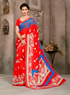 Red Silk Crepe Printed Saree With Blouse 69112