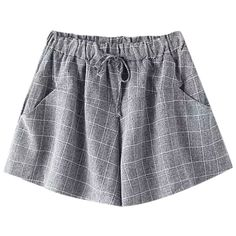 Chicnova Fashion Plaid Draw-string Shorts featuring polyvore, fashion, clothing, shorts, bottoms, tartan shorts and plaid shorts