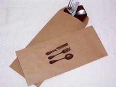 100 Kraft brown stamped silverware envelopes by jtjujubees on Etsy, $50.00