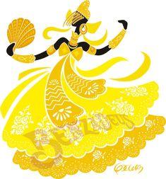 Oxum - BENZADEUS African Beauty, African Art, Yoruba Orishas, African Mythology, Gods And Goddesses, Illustrations And Posters, Mellow Yellow, Black Art, Painting Inspiration