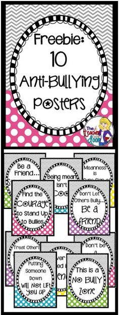 These 10 Anti-Bullying Posters are great teaching tools and reminders for your students. They are also part of a complete Bullying Prevention Kit Classroom Posters, School Classroom, Counseling Posters, Teaching Posters, Classroom Ideas, Anti Bullying Activities, Anti Bullying Lessons, Anti Bullying Week, Bullying Posters
