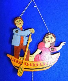Old Vintage German Wood Carved Folk Art Jumping Jack Boating Couple #AB3