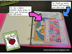 Teacher Plan Book ~ Use a plastic divider to store certificates for the month