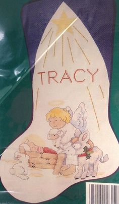 A Christmas Story Stocking Kit Sheep Angel Nativity Counted Cross Stitch #NeedleTreasures