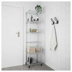 IKEA - OMAR, 1 section shelving unit, Easy to assemble – no tools required. Also stands steady on an uneven floor since the feet can be adjusted. Can also be used in bathrooms and other damp indoor areas. Kitchen Shelving Units, Pantry Shelving, Pantry Storage, Wire Shelving, Adjustable Shelving, Kitchen Storage, Kitchen Pantry, Kitchen Organization, Kitchen Island