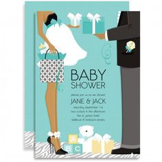 Classic Couple Baby Shower - Blue (African American) Invitation