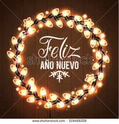 merry christmas and happy new year spanish language glowing