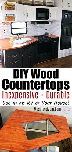 How to make DIY wood countertops for your RV or home kitchen makeover! Easy and durable plus less expensive! How to make DIY wood countertops for your RV or home kitchen makeover! Easy and durable plus less expensive! Diy Wood Countertops, Outdoor Kitchen Countertops, Kitchen Wood, Kitchen Cabinets, Kitchen Ideas, 10x10 Kitchen, Kitchen Counters, Upper Cabinets, Cupboards