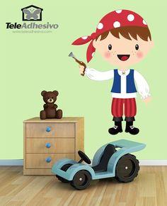 Vinilos Infantiles: El pequeño corsario trabuco #vinilo #pared #piratas #barcos #bucanero #grumete #habitacion #decoracion #infantil #TeleAdhesivo
