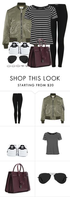 """Style #11088"" by vany-alvarado ❤ liked on Polyvore featuring Topshop, Yves Saint Laurent, adidas, Ray-Ban and Luxury Fashion"