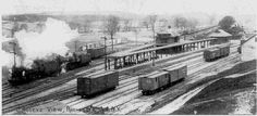 Rochester Junction, Lehigh Valley Railroad, was located near the town of Rush.  The tracks to the left was the main line.  The tracks to the right was the branch to Rochester and led to what is now the Dinosaur Barbecue.  Photo c.1912