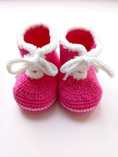 Pink Crochet baby boots Baby shower favors Knitted baby