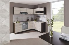 Rohová Nina - Kuchyne, 220x160 (jaseň coimbra, dub tmavý, traini beige)