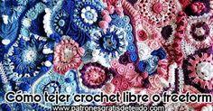 Cómo tejer freeform, crochet libre o scrumbling Lana, Freeform Crochet, Blanket, Free Pattern, Trapillo, Tutorials, Fabrics, Blankets, Cover
