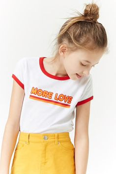 Girls Love Graphic Ringer Tee (Kids)