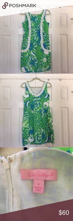 """Lilly Pulitzer Dress- worn once- size 6 This dress was worn once and is basically brand new! Love the blue and green together with the lace trim. Size 6. 35"""" long. Lilly Pulitzer Dresses"""