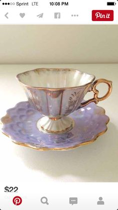 Vintage Pedestal Opalescent Demitasse Tea Cup and Saucer Lilac Unmarked Victorian Tea Party Little Princess Birthday Tea Party :: MariasFarmhouse Tea Cup Set, My Cup Of Tea, Tea Cup Saucer, Teapots And Cups, Teacups, Tea Party Decorations, Keramik Vase, Vintage Cups, Vintage Party