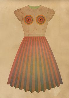 by Tracciamenti  rainbow (dress / 23)  digital work  laser print on hand tinted paper