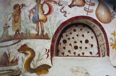 Painted shrine from kitchen of a villa in Pompeii.