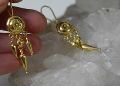 22 Karat Solid Gold Drop Amphora Dangle Daisy Earrings Artisan Jewelry for Women Ancient Greek Handmade Wedding Bridal Anniversary Gifts Byzantine Jewelry, 7th Anniversary Gifts, Greek Jewelry, Coin Pendant, Handmade Wedding, Ancient Greek, Gifts For Wife, Artisan Jewelry, Solid Gold