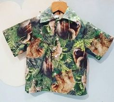 A unisex Cotton summer shirt with Sloth design and pearly poppers. Sloth Shirt, Floral Tops, My Etsy Shop, Trending Outfits, Unique Jewelry, Boys, Handmade Gifts, Check, Shirts