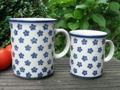 Large mug with its little brother by Polish pottery