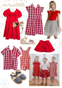 Matching Christmas Looks For Siblings & Cousins. Blue Daisy, Red Skirts, Christmas Traditions, All Things Christmas, Siblings, Gingham, Boy Or Girl, Red And White, Summer Dresses