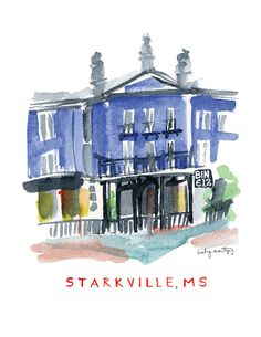 Starkville, Mississippi Restaurant Print -- Bin 612 in the Cotton District Created as part of a campaign highlighting the culinary culture of