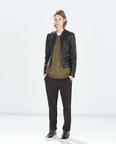 ZARA - TRF - FAUX LEATHER JACKET WITH FLOUNCE